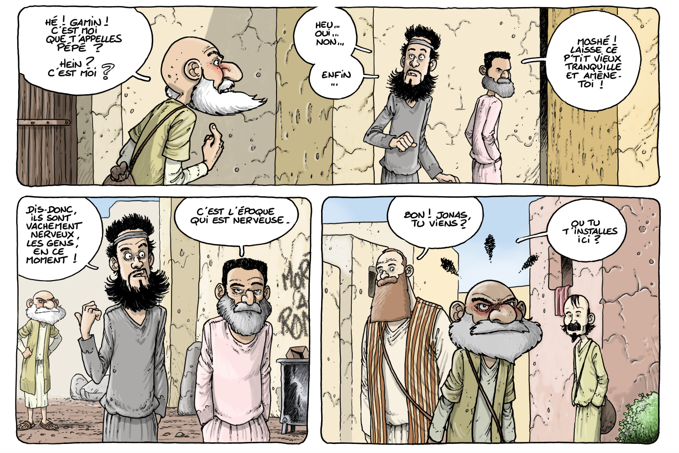 Capture p28 suite de la scène, Dans la case, David Ratte, Editions Paquet, Le voyage des Pères 4, Barabbas