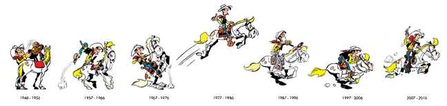 Evolution du graphisme de Lucky Luke par Morris
