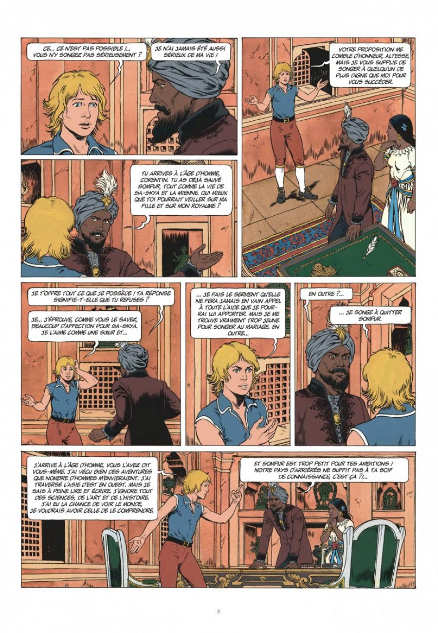 Corentin, les trois perles de Sa-Skya, le lombard, Jean van hamme, christophe Simon-page6-1200