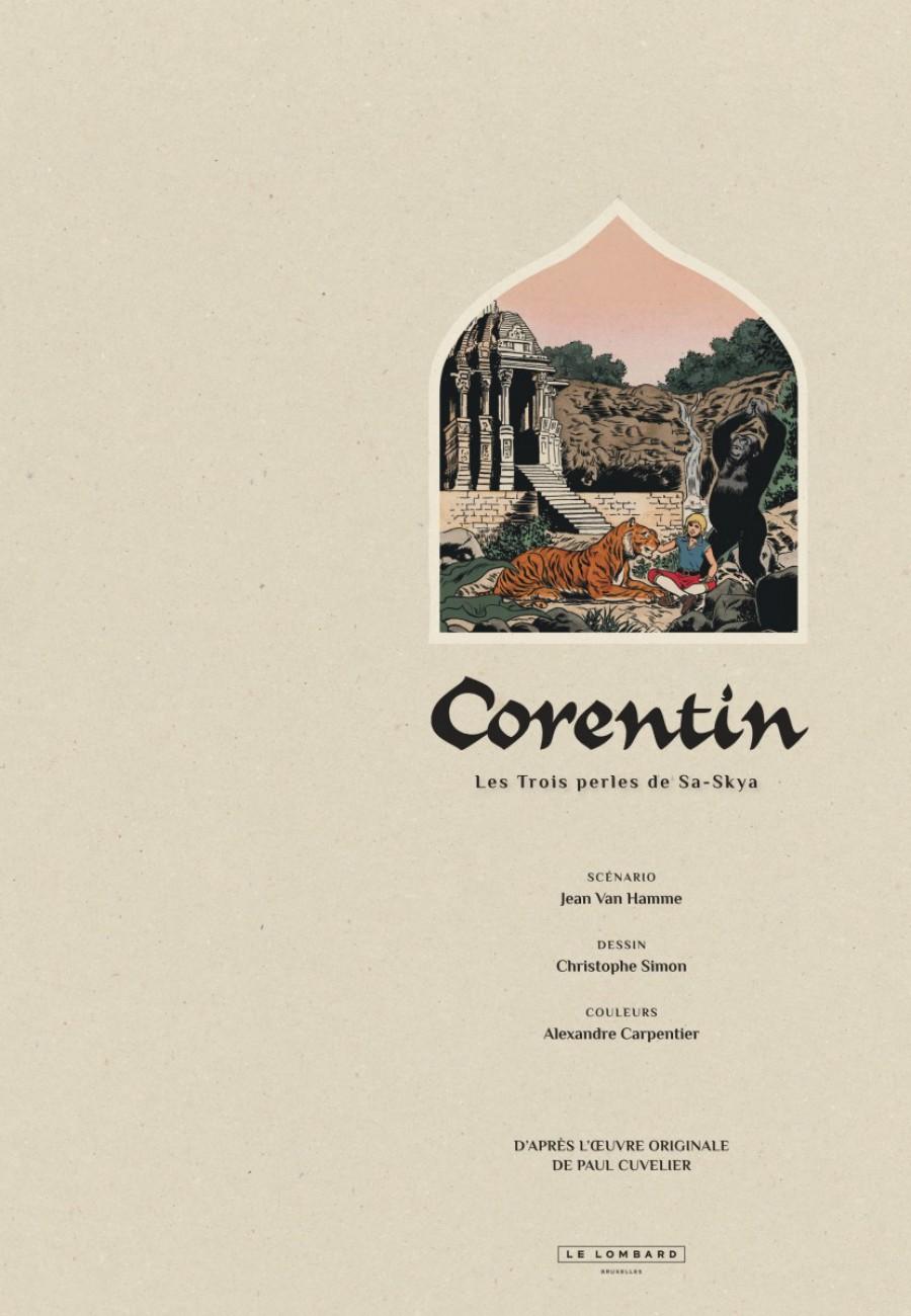 Corentin, les trois perles de Sa-Skya, le lombard, Jean van hamme, christophe Simon-titre-1200