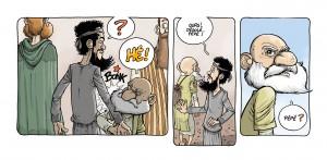 strip Moshé Jonas - Dans la case, David Ratte, Editions Paquet, Le voyage des Pères 4, Barabbas