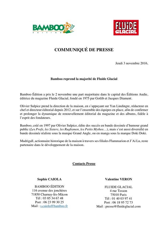 Bamboo rachète Fluide Glacial, communiqué de presse, Actu BD