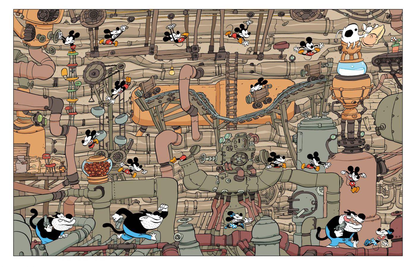 Tebo, dans la case, La jeunesse de Mickey, Glénat